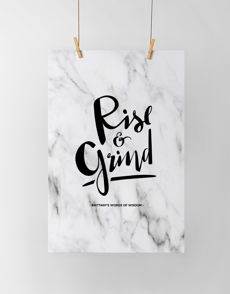 Rise & Grind Personalized Print in white marble