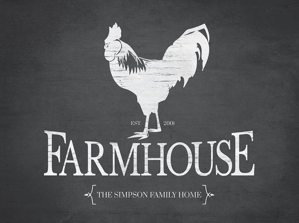 close up view of the Rooster Farmhouse Reverse personalized print