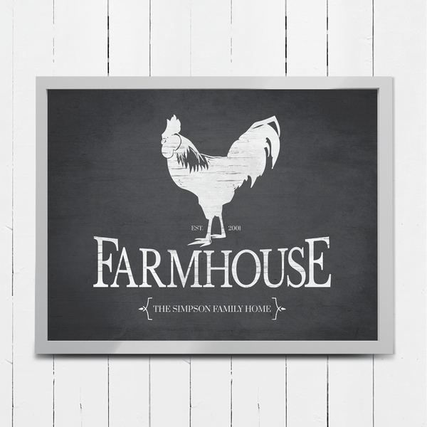 Rustic image of a rooster with large Farmhouse type underneath. Personalize it with your family name and EST date.