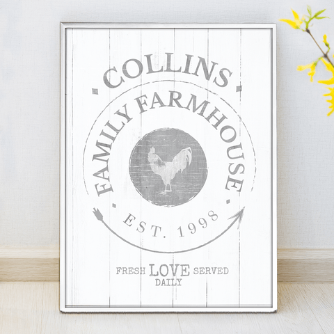 Family Farmhouse personalized print. Set your last name in it. Fresh love served daily.