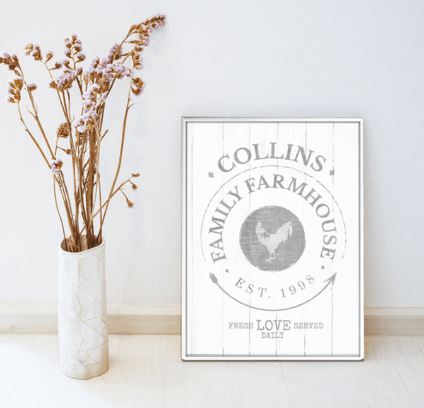 country decor room with a framed personalized Family Farmhouse print
