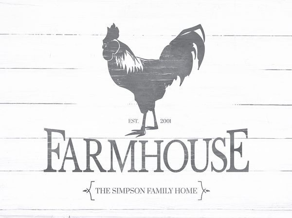 Close up of the Rooster Farmhouse personalized print.