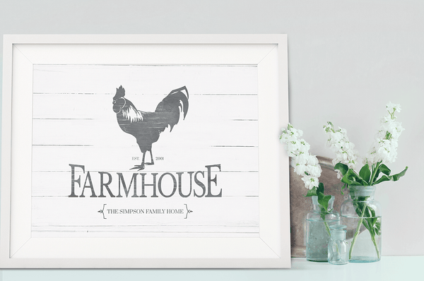 country home decor with a framed Rooster Farmhouse print