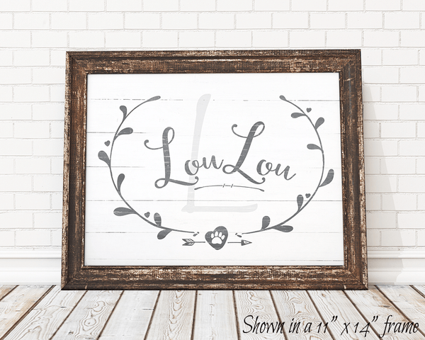 Framed Rustic Doggy personalized print