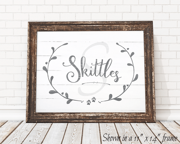 Framed Rustic Kitty personalized print
