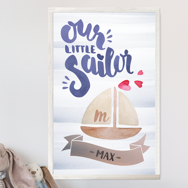 Our Little Sailor print with a sail boat and hearts. Personalized with name in a decorative banner below and the initial in the sail.