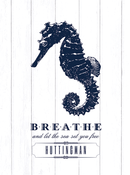 Close up of the Seahorse - Breathe print from our Coastal Life collection