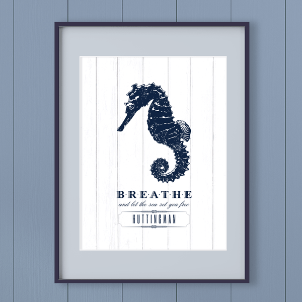 "Nautical themed personalized print. Vintage sketch of a seahorse with ""Breathe and let the sea set you free"" written below. Personalize it with your name!"