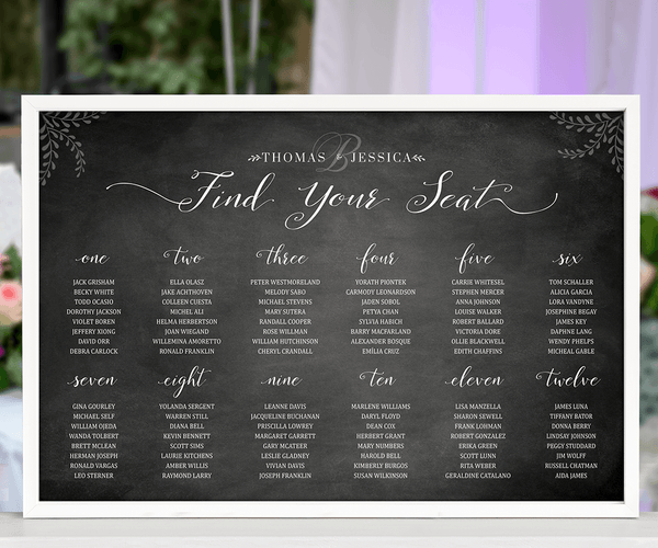 Chalkboard Seating Chart Personalized Print at a wedding