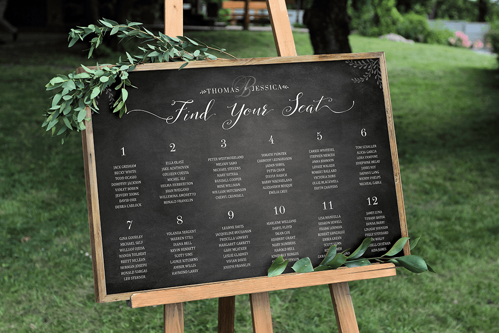 Chalkboard seating chart personalized print jibe prints