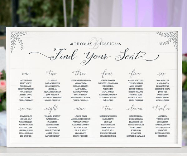 Rustic Seating Chart Personalized Print displayed at a wedding reception