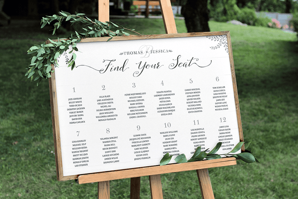 Rustic Seating Chart Personalized Print at an outdoor wedding