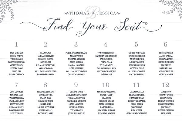 Rustic Seating Chart Personalized Print with numbered tables