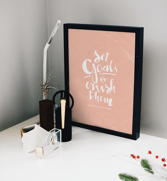Set Goals & Crush Them Personalized Print in a modern black and white workspace