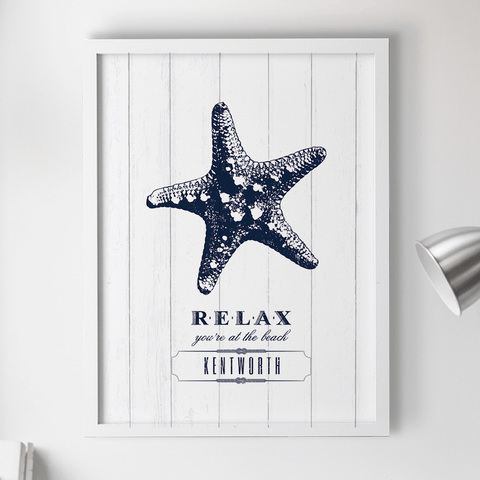 "rustic drawing of a starfish with text ""Relax you're at the beach"". Personalize it with your name underneath."