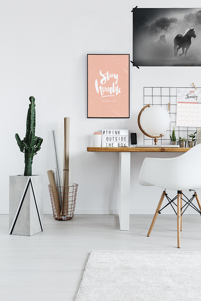 Stay Humble Personalized Print in a modern boho workspace