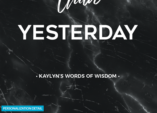 preview of the personalization on the Stronger Than Yesterday Personalized Print