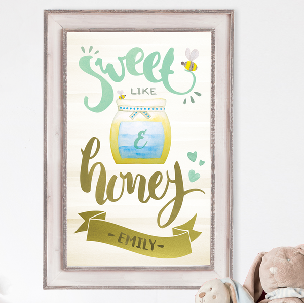 Sweet Like Honey brushed lettering around a jar of honey. Place your child's initial on the jar label and full name in a decorative band below.