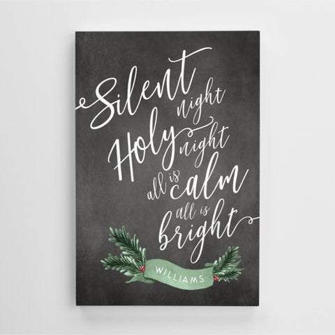 silent night, holy night, all is calm, all is bright - lyrics on a personalized canvas print