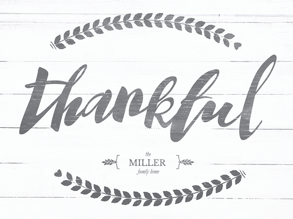 Close up of the Thankful personalized print.