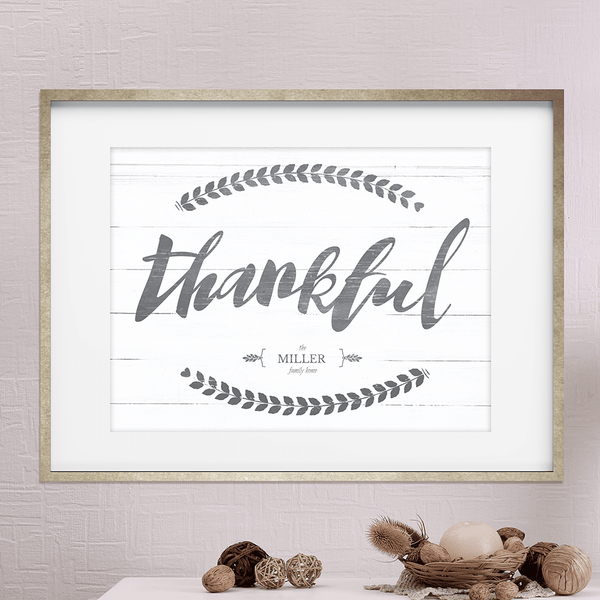 "Vintage looking personalized print with ""thankful"" in brush script"