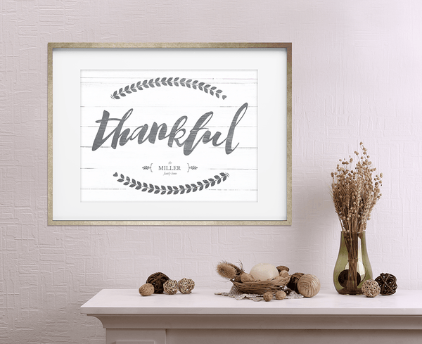 fall decor with a framed Thankful print on the wall