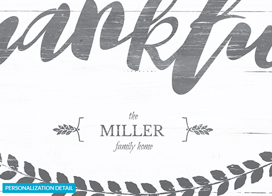 preview of the personalization on the Thankful print