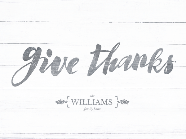 Close up view of the GiveThanks personalized print