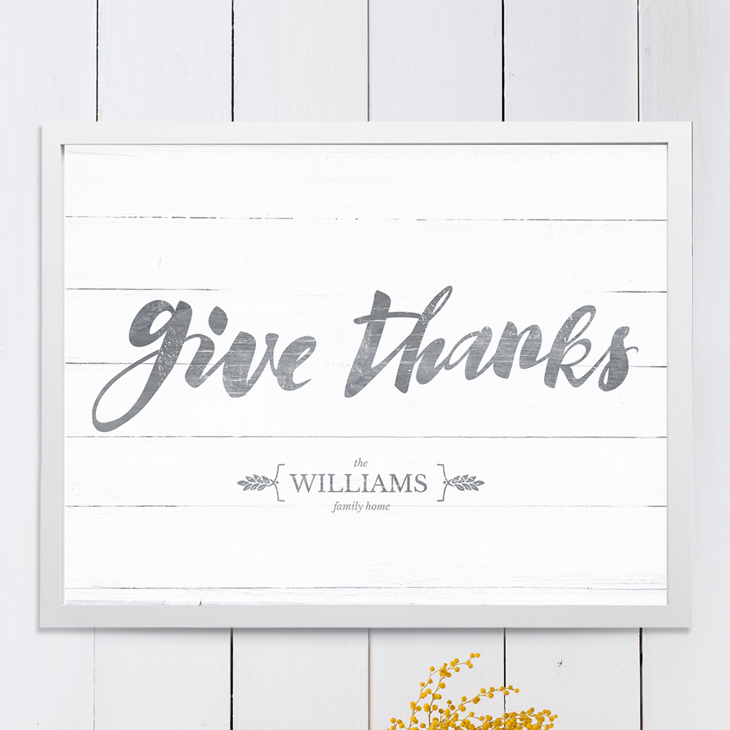 Give Thanks personalized print. Have your family name displayed in the brackets under the beautiful brush lettering.