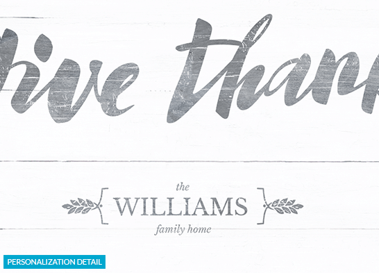 Detail preview of the personalization on the Give Thanks print