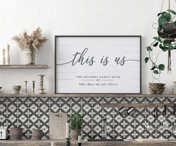 boho kitchen displaying a framed This Is Us personalized print