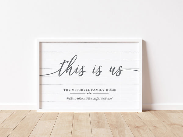 This Is Us personalized print in a modern white frame sitting on a floor