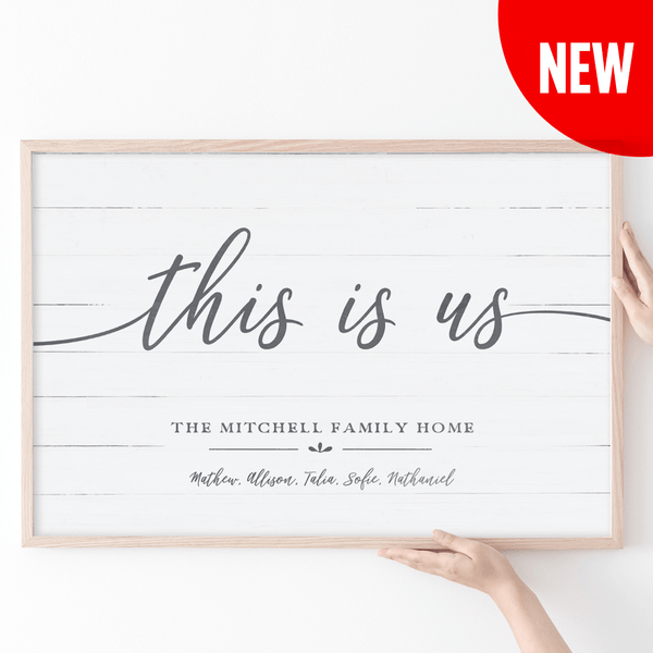 This Is Us Personalized Print framed in a rustic frame