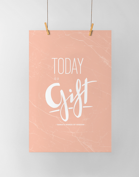 Today Is A Gift Personalized Print in blush marble