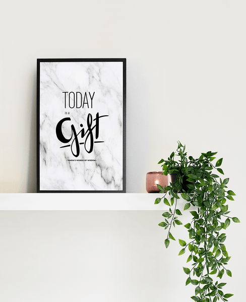 Today Is A Gift Personalized Print framed in a black frame on a shelf