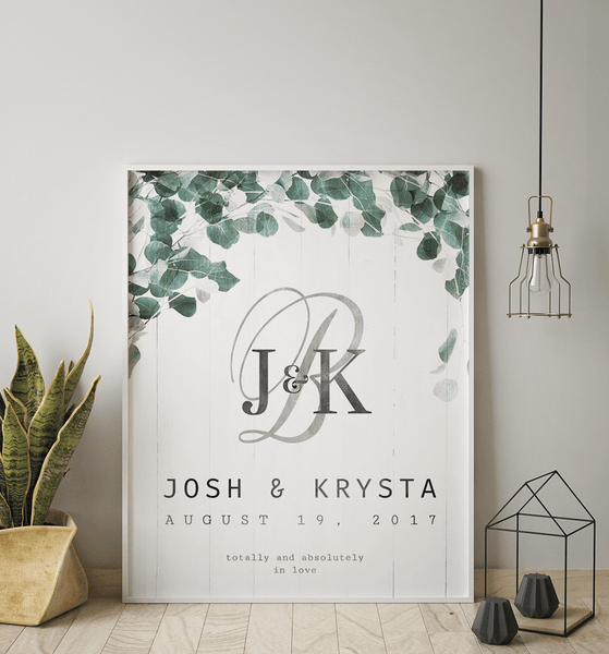 Modern Boho styled room with a framed Totally & Absolutely personalized wedding print