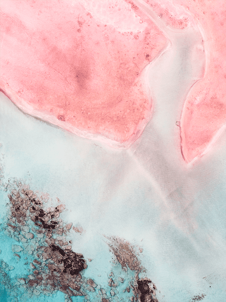 Closeup of the Unlocal Print - a beach overview with aqua and pink tones