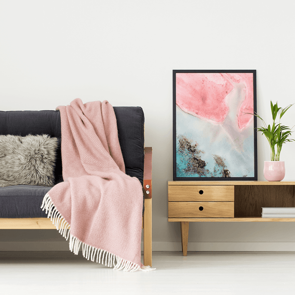 Unlocal print in a modern apartment with blush pink accents