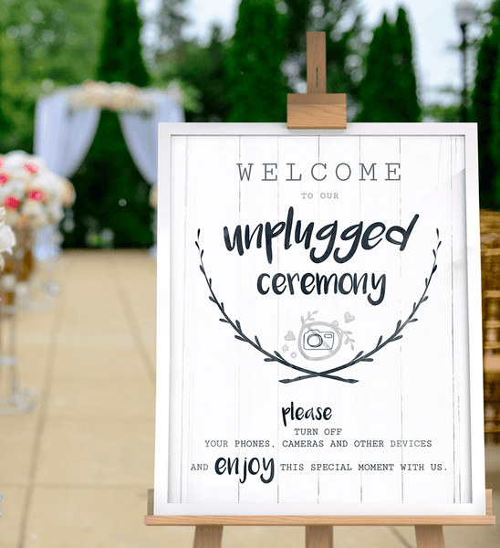 Unplugged Ceremony print at an outdoors wedding