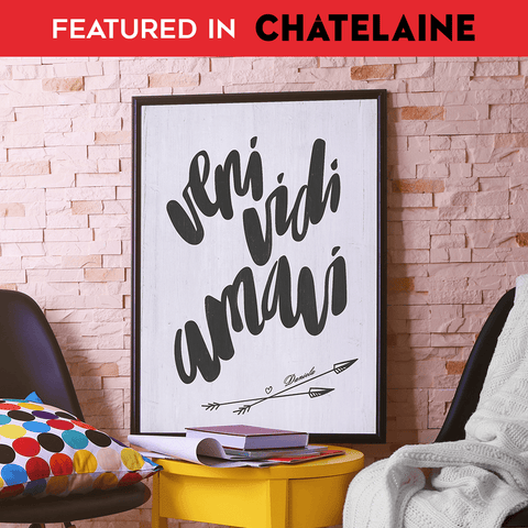 Veni Vidi Amavi personalized print featured in Chatelaine magazine holiday gift guide