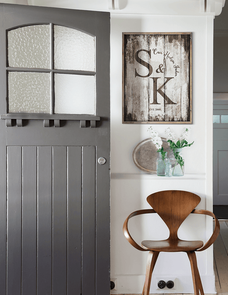 Modern farmhouse entryway with Vintage Family personalized print framed on the wall
