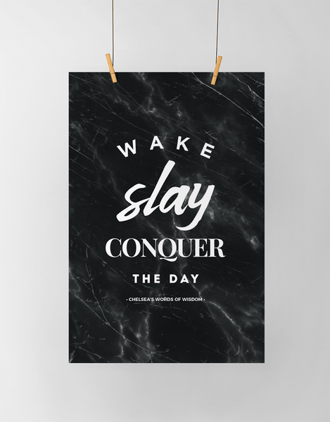 Wake Slay Personalized Print in black marble