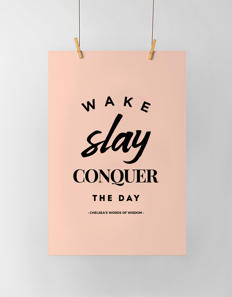 Wake Slay Personalized Print in black and blush
