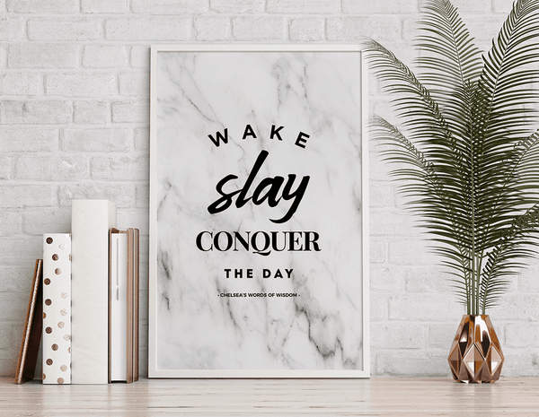 boho styled room with copper accents and Wake Slay Personalized Print in a white frame