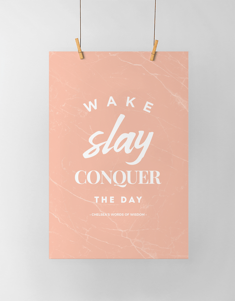 Wake Slay Personalized Print in blush marble