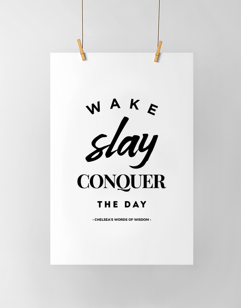 Wake Slay Personalized Print in black and white