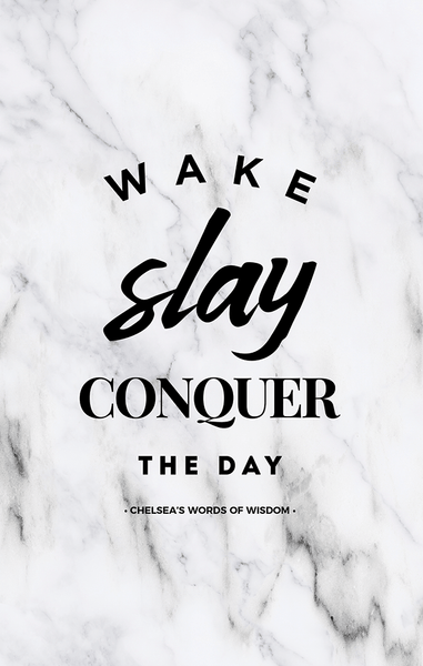 Wake Slay Personalized Print in white marble