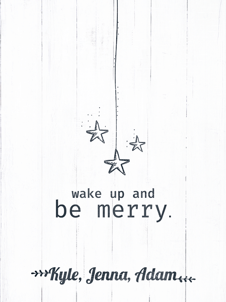 close up of the Wake Up And Be Merry print