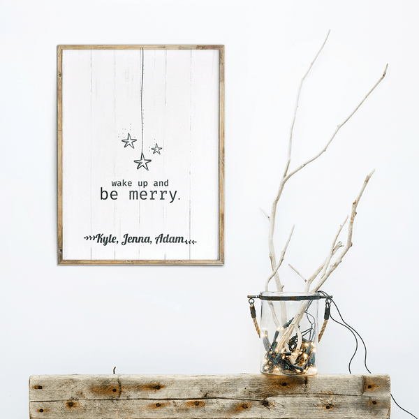 Skandinavian inspired decor with Wake Up And Be Merry personalized print framed on the wall