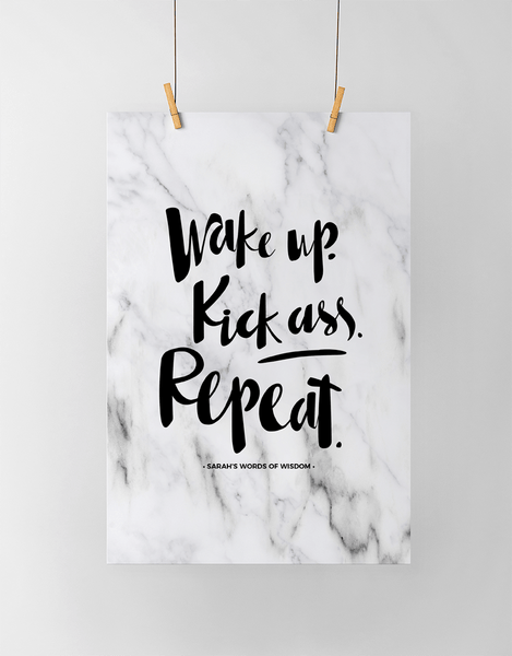 Wake Up Personalized Print in classic marble